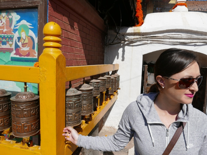 Spinning the prayer wheels.