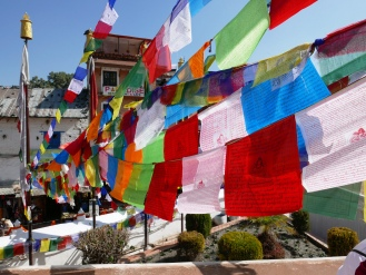 Prayer flags in the wind.
