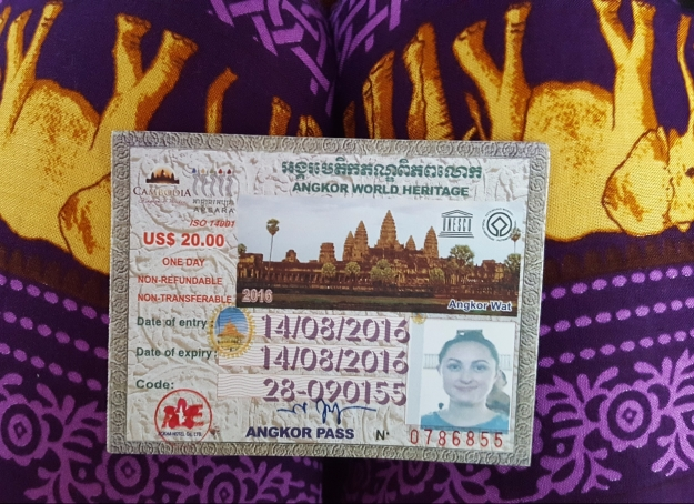 Ticket to Angkor Wat, Siem Reap, Cambodia
